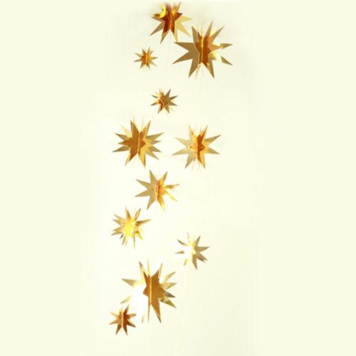 Гирлянда Звезды 2 м 10-14-19 см Золото