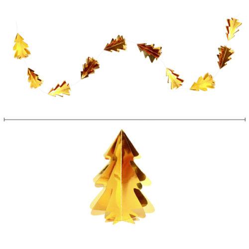 Гирлянда вертикальная Елки 2,5 м 12,5-9 см золото металлик