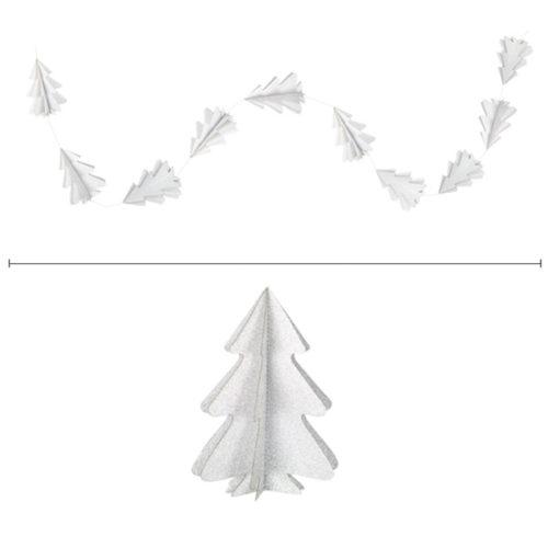 Гирлянда вертикальная Елки 2,5 м 12,5-9 см серебро блеск