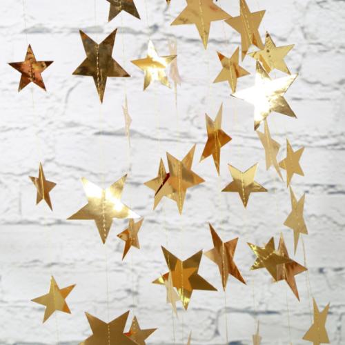 Гирлянда на нитках Звезды 10 см золото 4 м