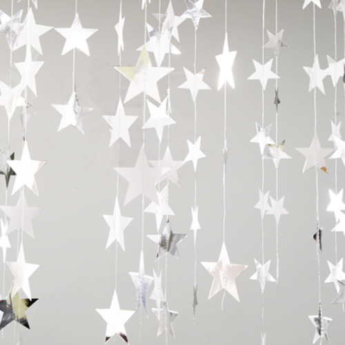 Гирлянда на нитках Звезды 10 см серебро 4 м