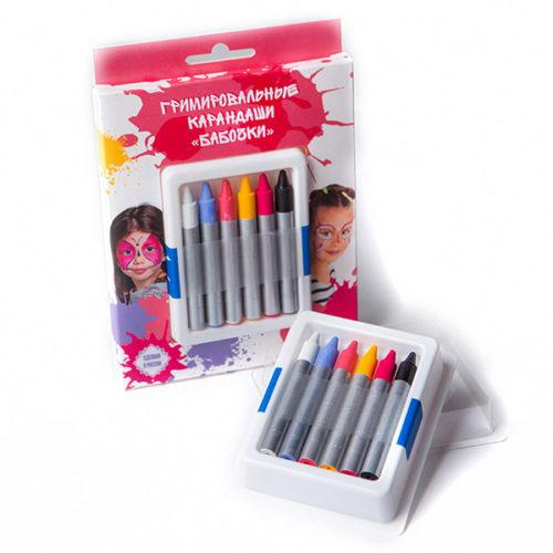 Гримировальные карандаши Бабочки 6 цветов