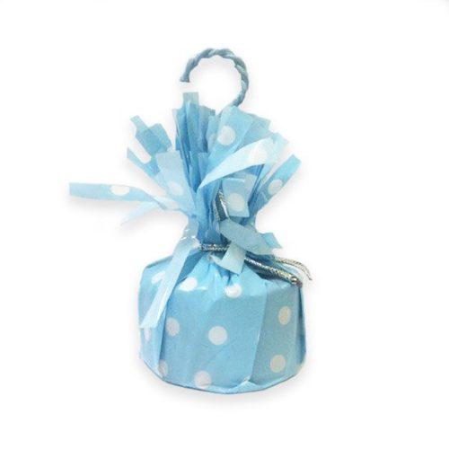 Грузик для воздушных шаров в горошек голубой 140 гр