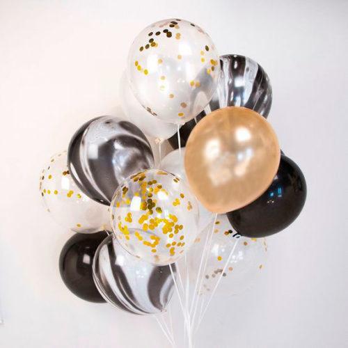 Комплект из воздушных шаров Черный-мрамор и золото