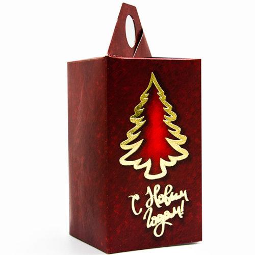 Коробка подарочная 14 х 8 см С Новым Годом Елочка Красный 5 штук