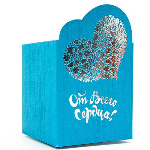 Коробка подарочная 8 х 9 см От Всего Сердца Голубой 5 штук