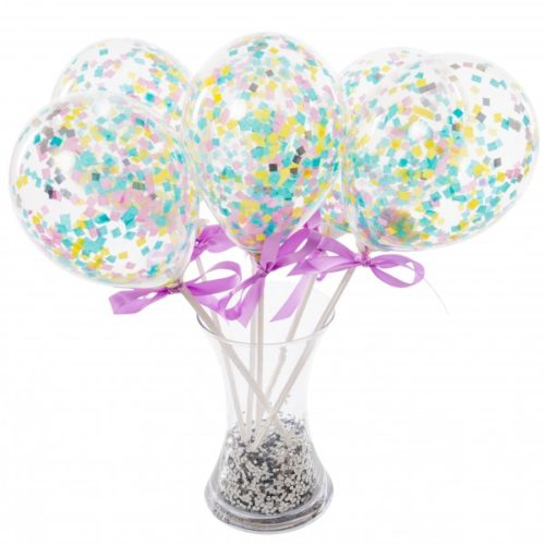 Маленькие шарики на полочке с конфетти Ассорти Пастель 6 штук