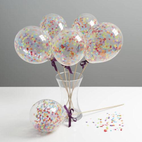 Маленькие шарики на палочке с конфетти Ассорти 6 штук