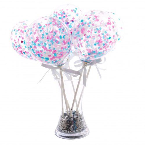 Маленькие шарики на палочке с конфетти Розовый и голубой Ассорти 6 штук