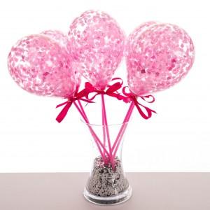 Маленькие шарики на палочке с конфетти Розовый 6 штук
