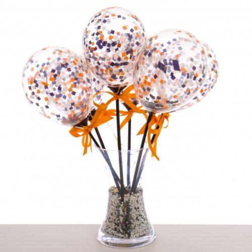 Маленькие шарики на палочке с конфетти Хеллоуин 6 штук