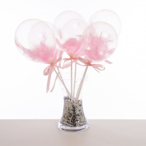 Маленькие шарики на полочке с перьями Розовый 6 штук