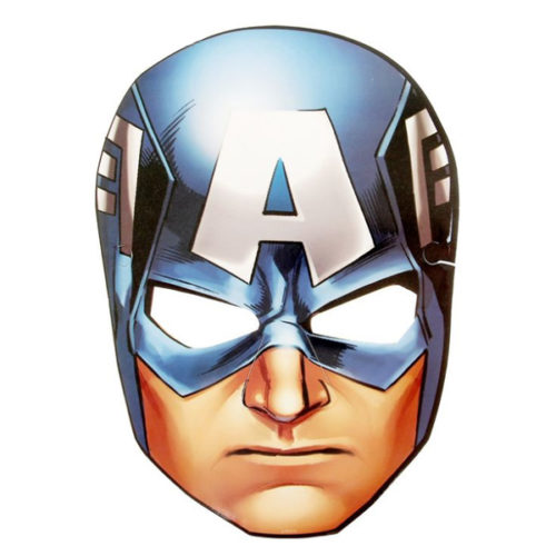 Маска бумажная Мстители Капитан Америка 16 х 23 см
