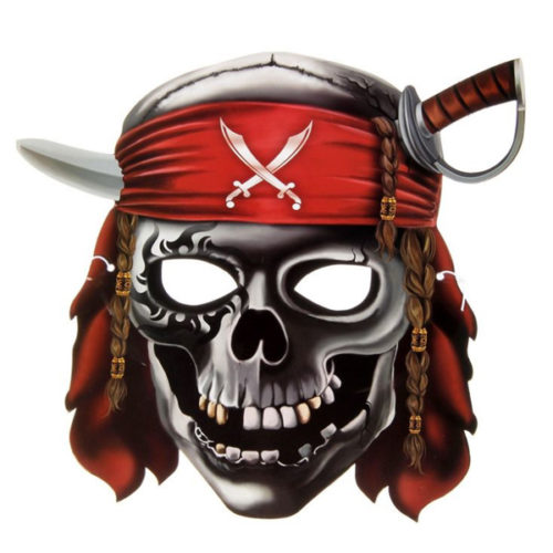 Маска бумажная Череп пирата 27 х 25 см