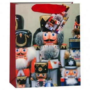 Пакет подарочный Гвардия Щелкунчиков Красный с блестками 32 х 26 х 13 см