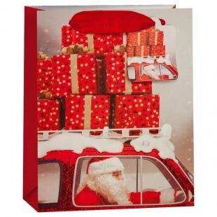 Пакет подарочный Дед Мороз в автомобиле с подарками Красный с блестками 42 х 32 х 12 см