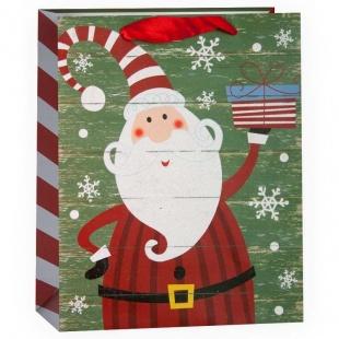 Пакет подарочный Дед Мороз с подарком Зеленый с блестками 32 х 26 х 12 см