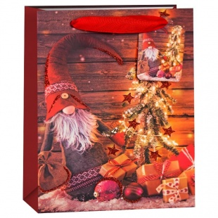 Пакет подарочный Новогодний гном и елочка Красный с блестками 42 х 32 х 12 см