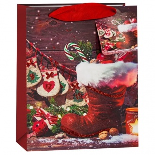 Пакет подарочный Новогодний сапожок и подарки Красный с блестками 32 х 26 х 13 см