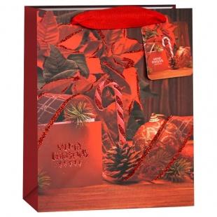 Пакет подарочный Счастливого Рождества пуансетия 32 х 26 х 13 см