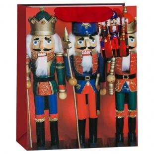 Пакет подарочный Щелкунчики Красный с блестками 23 х 18 х 10 см
