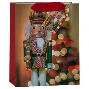 Пакет подарочный Щелкунчик Красный и новогодняя елочка блестками 32 х 26 х 13 см