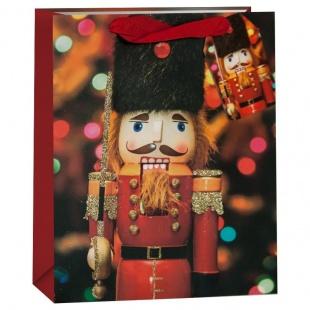 Пакет подарочный Щелкунчик Красный с блестками 32 х 26 х 12 см