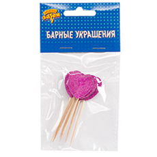 Пика для канапе Сердце розовое блеск 8 см 6 штук