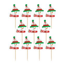 Пика для канапе Снеговик дерево 6,3 см 36 штук