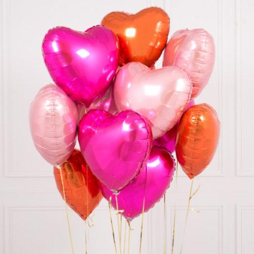 Связка из шаров Ассорти Сердца Фуксия Оранжевый и Розовый