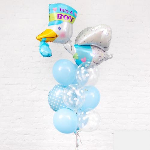 Связка из шаров с конфетти и Аистом на Рождение мальчика