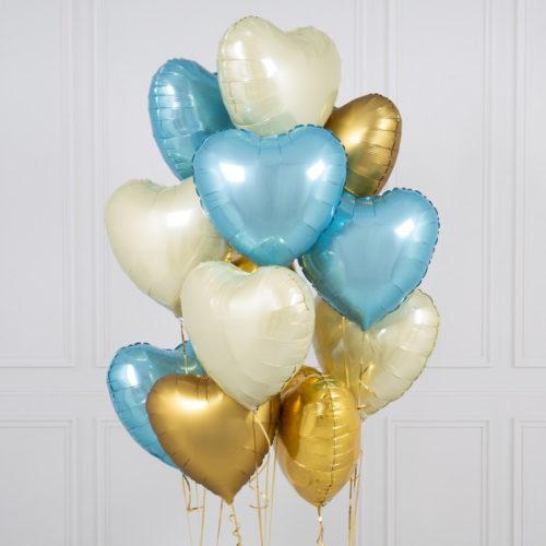 Связка из 10 шаров Сердца Ассорти Голубой Белый и Золото