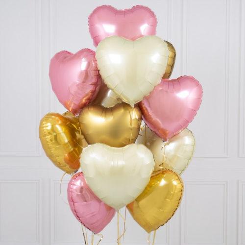 Связка из 10 шаров Сердца Ассорти Розовый Белый и Золото