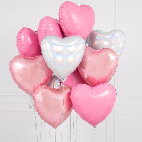 Связка из 10 шаров Сердца Ассорти Розовый Белый и Серебро