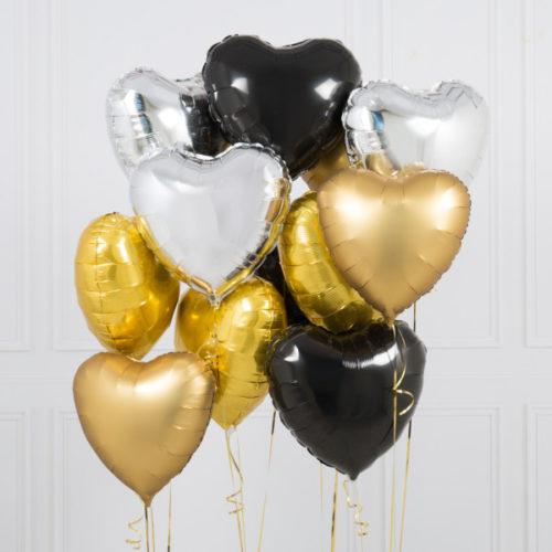 Связка из 10 шаров Сердца Ассорти Черно-Белый и Серебро Золото