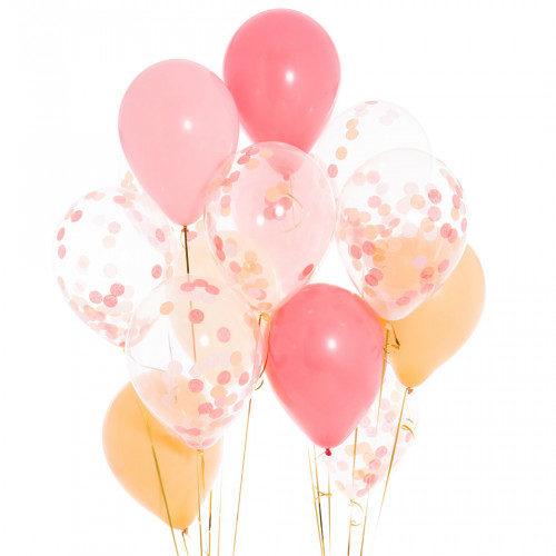 Связка из 13 шаров с гелием Ассорти Нежно-розовые тона с Конфетти