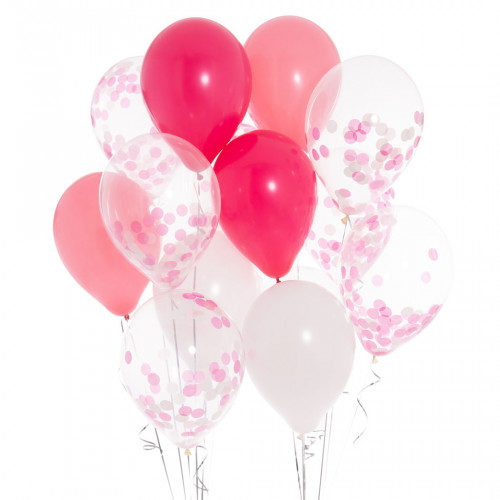 Связка из 13 шаров с гелием Ассорти Ярко-розовые тона с Конфетти