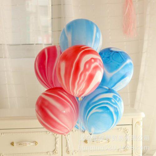 Связка из 7 шаров Мрамор Голубой и Розовый