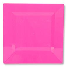 Тарелка пластиковая 18 см квадрат Фуксия Bright Pink 10 штук