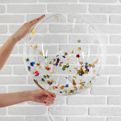 Шар 46 см Сфера 3D Deco Bubble с конфетти Звезды Разноцветные