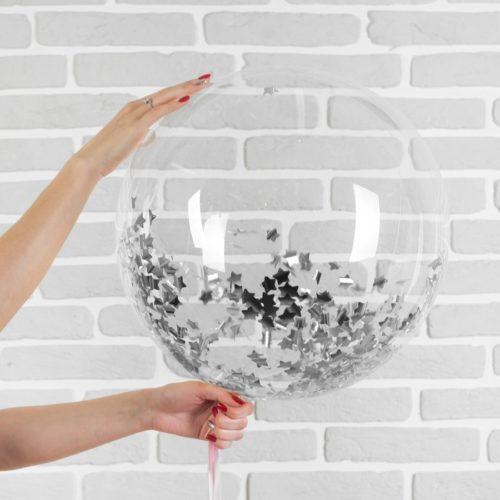 Шар 46 см Сфера 3D Deco Bubble с конфетти Звезды Серебро
