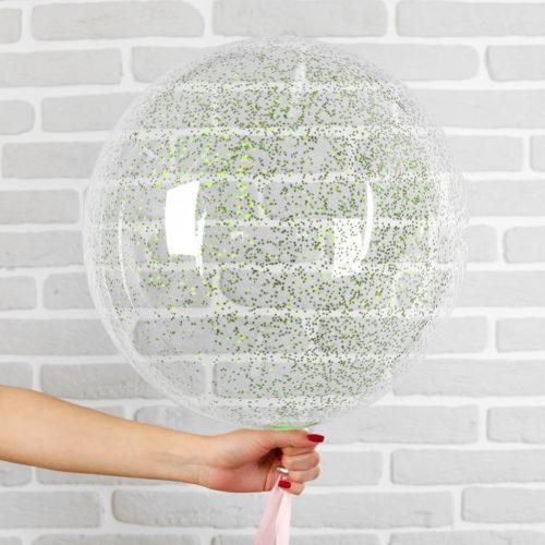 Шар 46 см Сфера 3D Deco Bubble с конфетти Мини Зеленые