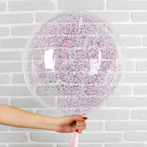 Шар 46 см Сфера 3D Deco Bubble с конфетти Мини Фуксия
