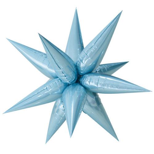 Шар 66 см Фигура Звезда составная Голубой с воздухом