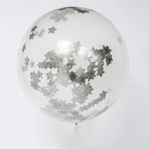 Шар 70 см Конфетти Серебряные Звезды