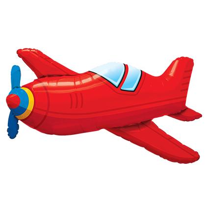 Шар 91 см Фигура Самолет красный винтаж