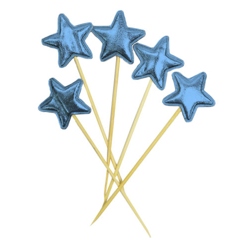 Шпажки для канапе капкейков Звезда голубая 11,5 см 5 штук