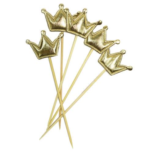 Шпажки для канапе капкейков Корона золотая 11,5 см 5 штук