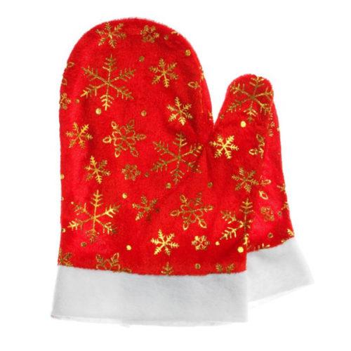 Варежки Деда Мороза со снежинками красные 14 х 23 см 2 штуки