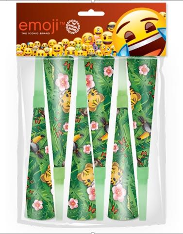 Горны Смайл Emoji Джунгли 20 см 6 штук